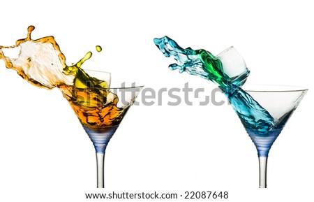 Drinks making Splashes - stock photo