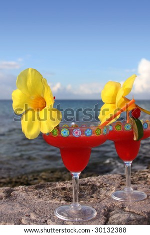 Drinks on the beach - stock photo