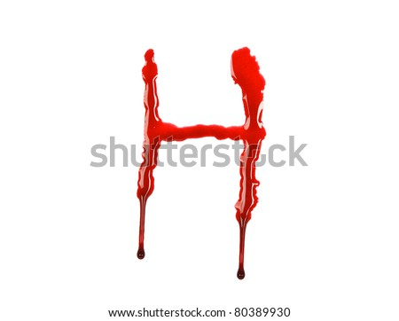 Dripping blood fonts the letter H - stock photo