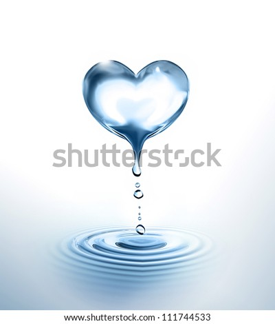 dripping Heart over the water - stock photo