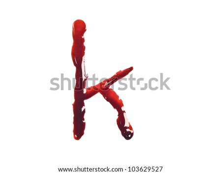 Dripping slashed blood fonts the letter lower case k - stock photo