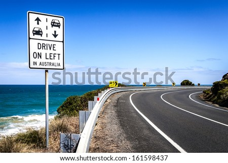 DRIVE ON LEFT : Australian road sign on the Great Ocean Road, Victoria - stock photo
