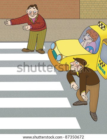 driver and pedestrian are not sure who should go first - stock photo