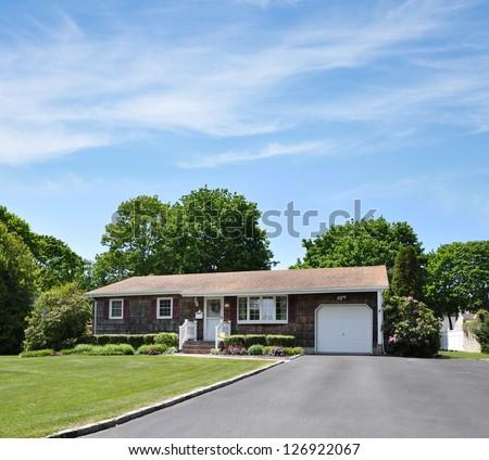 Driveway Suburban Ranch Home Wood Shingles - stock photo