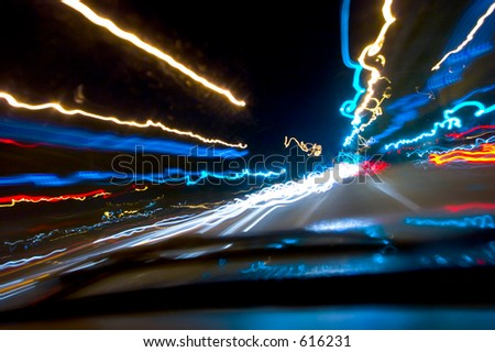 Driving at night - stock photo
