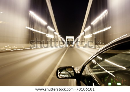Driving at night - stock photo