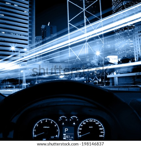 driving car at night - stock photo