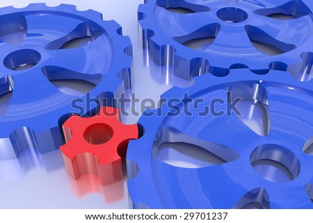 Driving force concept. One gear turn others. Hi-res digitally generated image. - stock photo