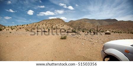 Driving in the desert of Namibia - Kaokoland - stock photo