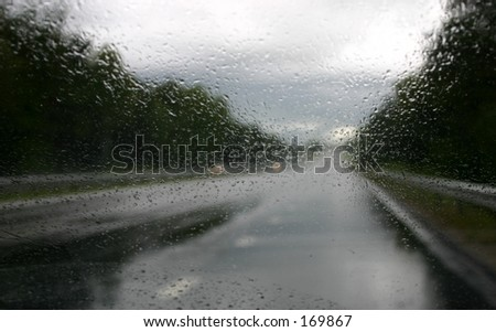 Driving in the rain - stock photo