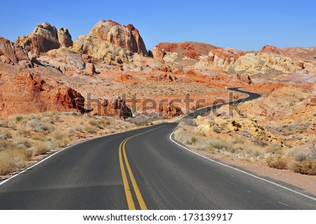 Driving in the Red Rock Landscape, Southwest USA - stock photo