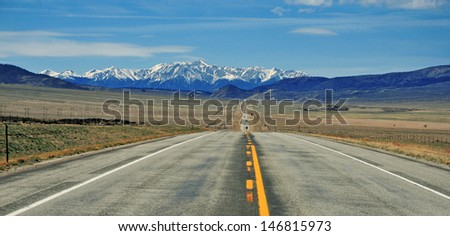 Driving in the Rocky Mountains, Colorado - stock photo