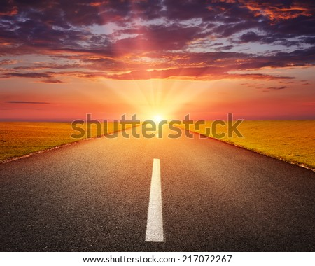 Driving on an empty asphalt road through the agricultural fields at sunset - stock photo