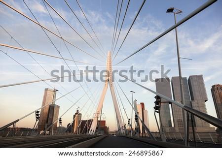 Driving on Erasmus Bridge. Rotterdam, South Holland, Netherlands. - stock photo