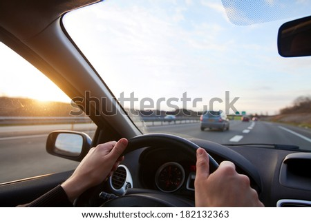 driving on highway - stock photo