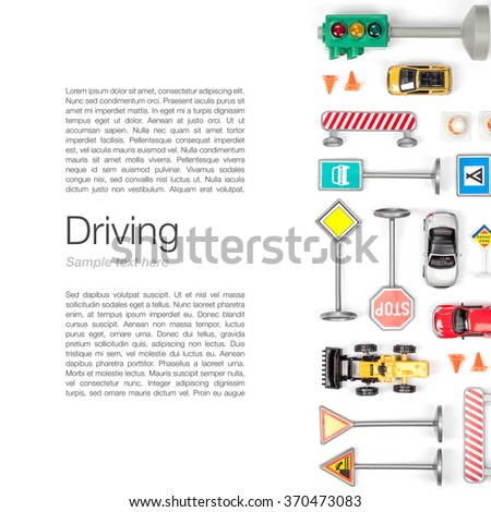 driving school concept. set of road signs and cars on white background top view - stock photo