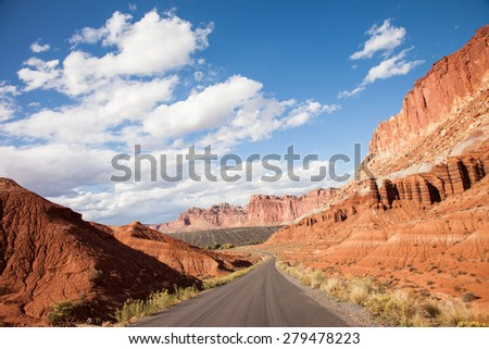 Driving through Capital Reef National Park, Utah - stock photo