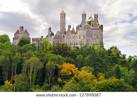 Dromore Castle on the hill in Co. Limerick, Ireland - stock photo