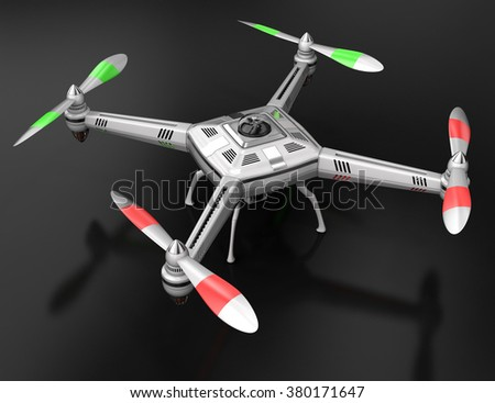Dron standing on a black surface.  3d illustration - stock photo