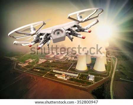 Drone controled from terrorist attacking to nuclear power plant. Digital artwork of fictional vehicle on UAV theme.  - stock photo