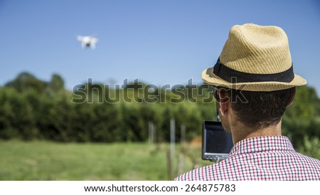 Drone flying. - stock photo