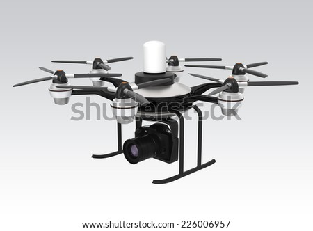 Drone mounted with DSLR for aerial photography - stock photo
