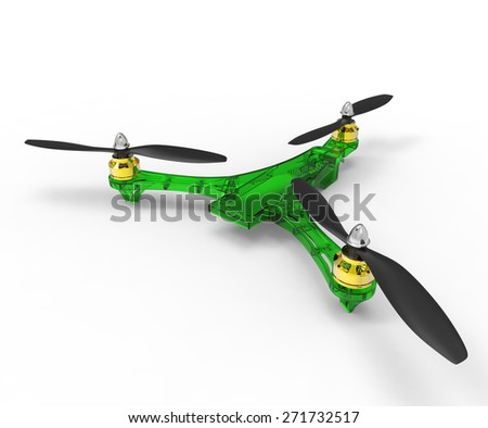 drone, Tricopter a remote control isolated on white background. - stock photo