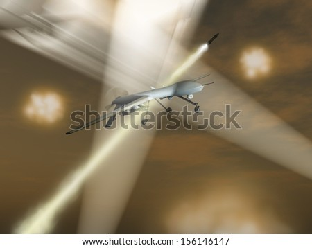 Drone under attack - stock photo