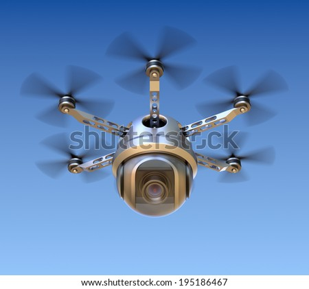 Drone with the camera - stock photo
