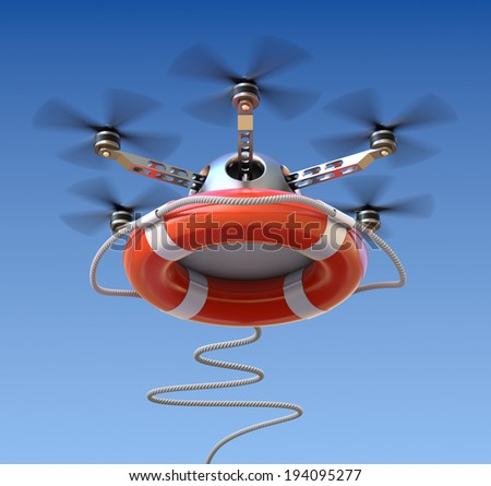 Drone with the lifebuoy - stock photo