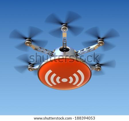Drone with wireless internet - stock photo