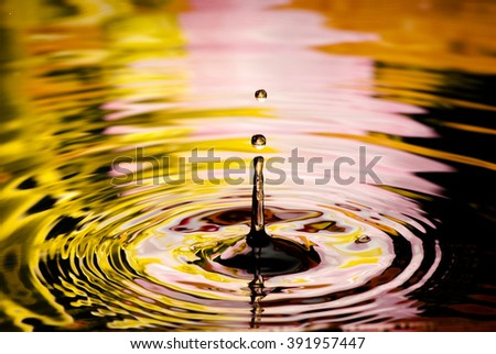 Drop in reflecting water - stock photo