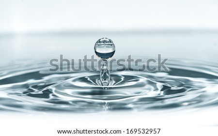 Drop in water. Blue waterdrop macro shot - stock photo