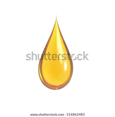 drop of oil with white background - stock photo