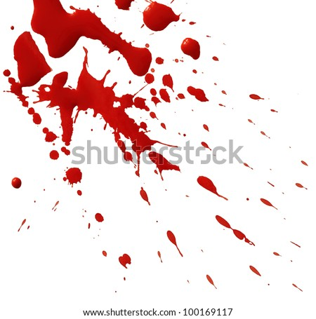 Drop of red blood isolated on white background - stock photo