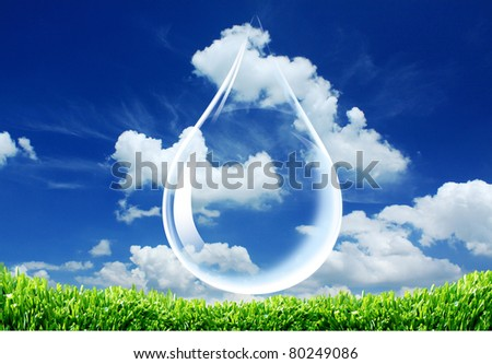 Drop of water  on sky background. - stock photo