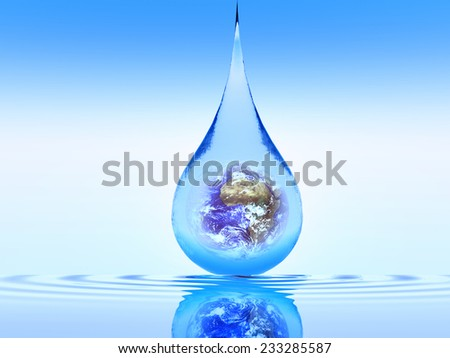drop of water with the planet earth inside(Elements of this image furnished by NASA ) - stock photo