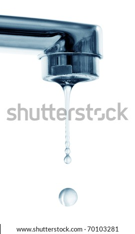 drops and faucet isolated on a white background - stock photo