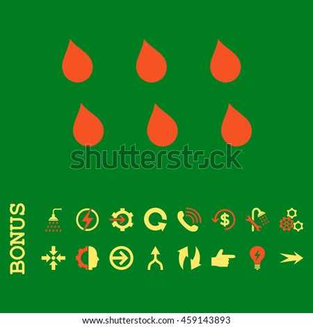 Drops glyph bicolor icon. Image style is a flat iconic symbol, orange and yellow colors, green background. - stock photo