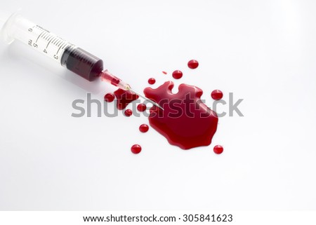 Drops of blood and syringes the on a white background, illustration, media medical. - stock photo