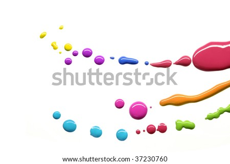 Drops of different paint colors - stock photo