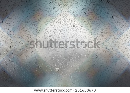 Drops of water on glass and abstract Background with bokeh,defocused light - stock photo