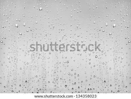 drops of water on the transparent glass - stock photo