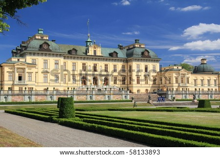 Drottningholm Castle in beautiful garden - stock photo