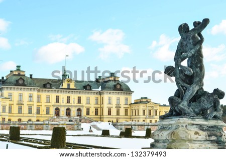Drottningholm Palace Gardens at Stockholm - Sweden - stock photo