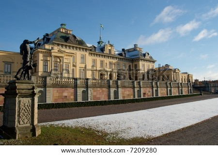 Drottningholm palace in Stockholm, residence of the Swedish royal family - stock photo