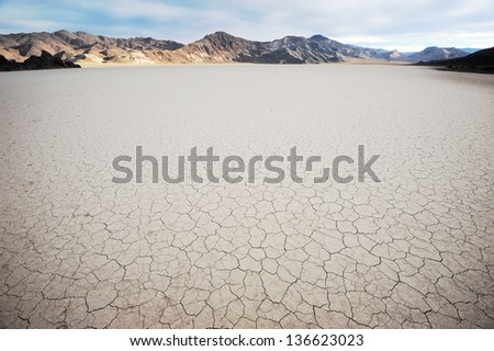 drought area from california desert at death valley national park - stock photo