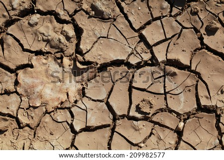 Drought Bad time for Earth. Land with black cracks - stock photo