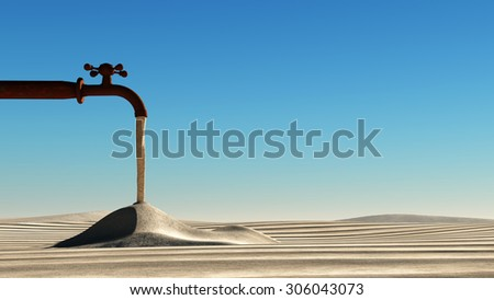 Drought concept, tap and desert - stock photo