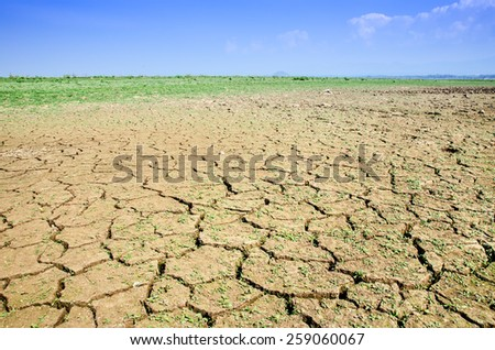 Drought land against a blue sky - stock photo
